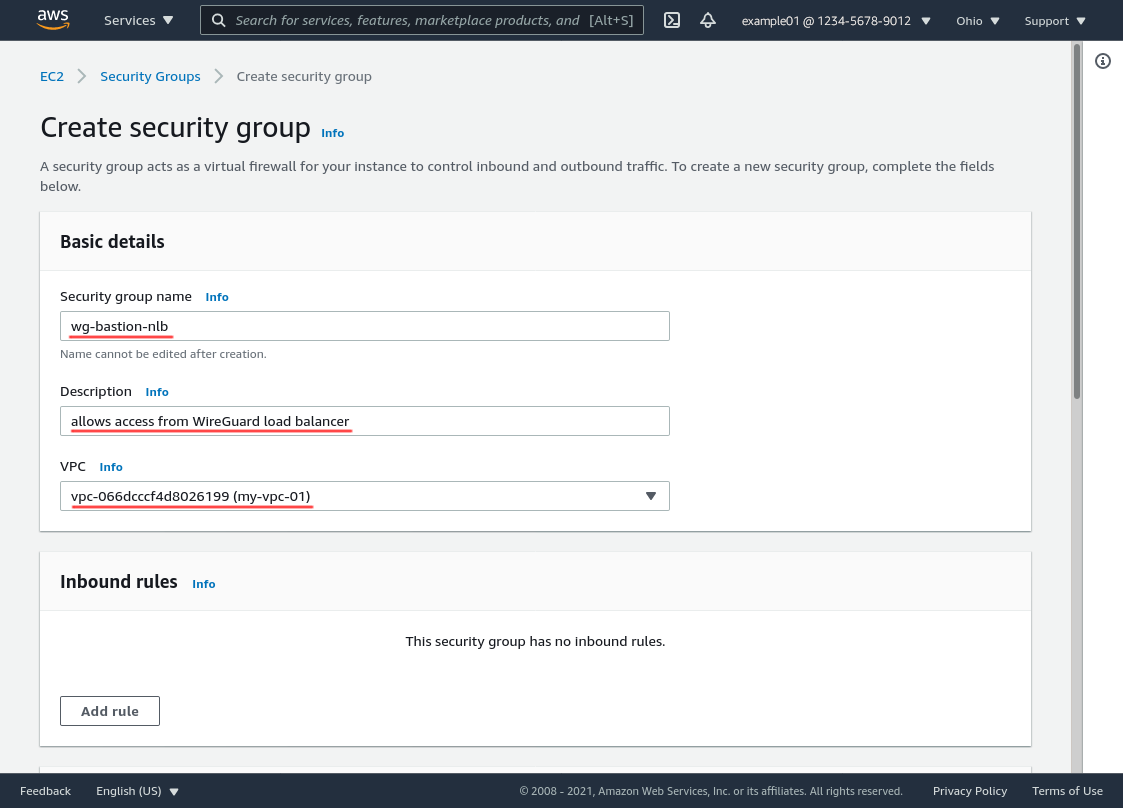 Create Security Group Page