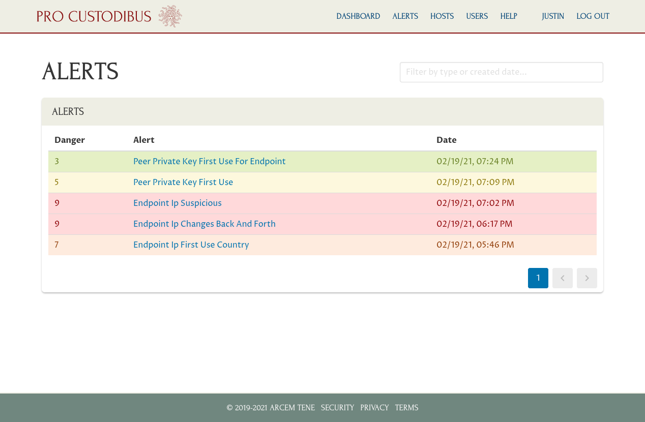 Screenshot of alert-list page